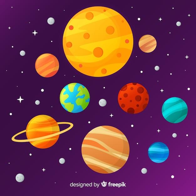Esquema clássico do sistema solar com deisgn plano Vetor grátis