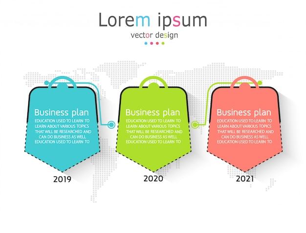 Esquema para educação e negócios usado no ensino, bem como com três opções Vetor Premium