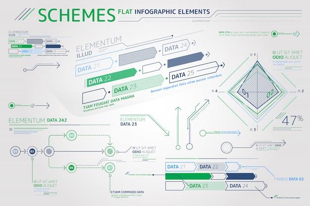 Esquemas de elementos infográfico plana Vetor Premium