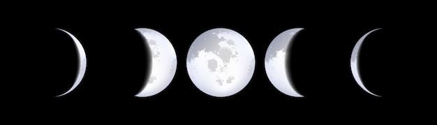 Esquemas de fases da lua, calendário lunar, luar. Vetor Premium