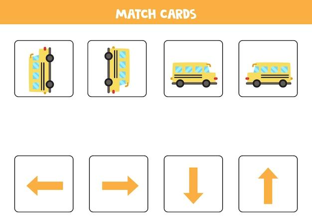 Esquerda, direita, para cima ou para baixo. orientação espacial com ônibus escolar dos desenhos animados. Vetor Premium