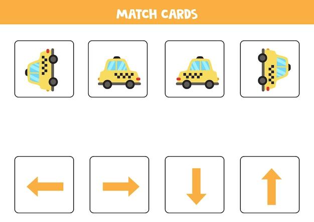 Esquerda, direita, para cima ou para baixo. orientação espacial com táxi de desenho animado. Vetor Premium