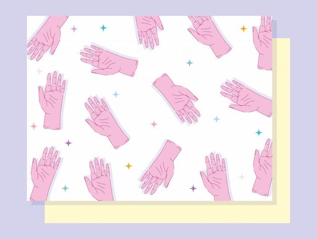 Esquerda mãos dia mãos mostrando cinco dedos gesto design Vetor Premium