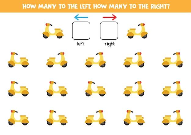 Esquerda ou direita com ciclomotor amarelo dos desenhos animados. jogo educativo para aprender a torto e a direito. Vetor Premium