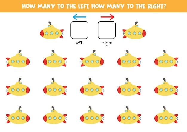 Esquerda ou direita com submarino de desenho animado. jogo educativo para aprender a torto e a direito. Vetor Premium