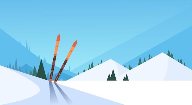 Esqui na neve inverno esporte montanha fundo Vetor Premium