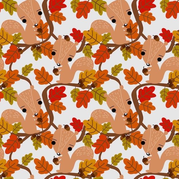 Esquilo bonito e folhas de outono padrão sem emenda. Vetor Premium