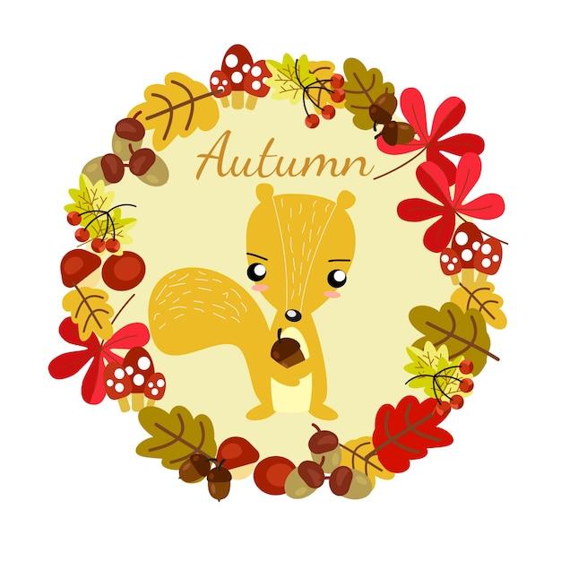 Esquilo bonito no fundo do outono. Vetor Premium