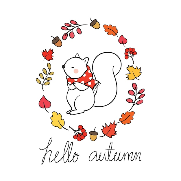Esquilo, em, grinalda, quadro, para, outono, estação Vetor Premium