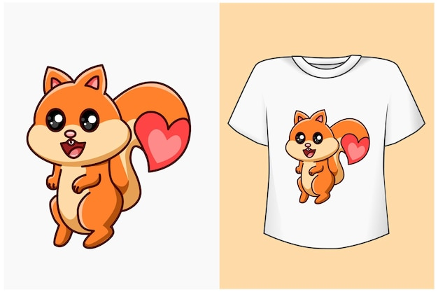Esquilo fofo com ilustração de desenho animado de amor Vetor Premium