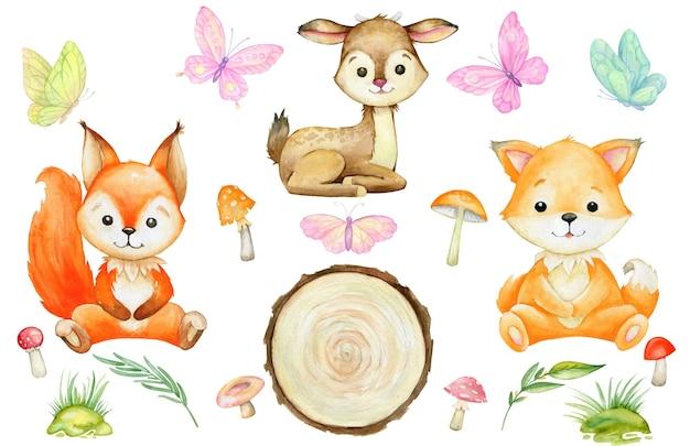 Esquilo, raposa, veado, cogumelos, borboletas. conjunto de aquarela, animais da floresta, em um fundo isolado. Vetor Premium