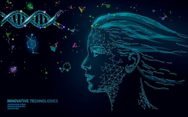 Essência cosmética 3d do tratamento da molécula do adn. cuidados de beleza médica poligonal de rosto feminino baixo poli. Vetor Premium