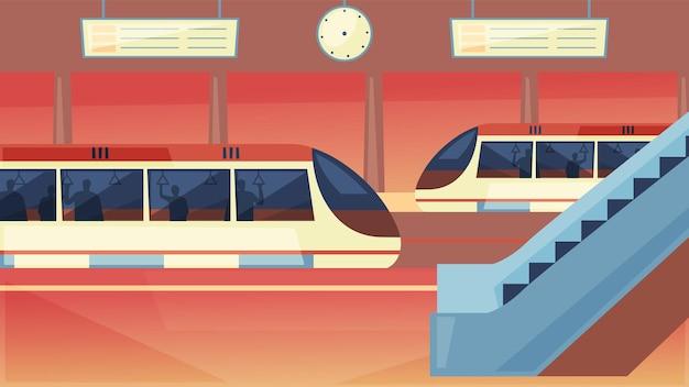 Estação com metro train underground platform Vetor Premium