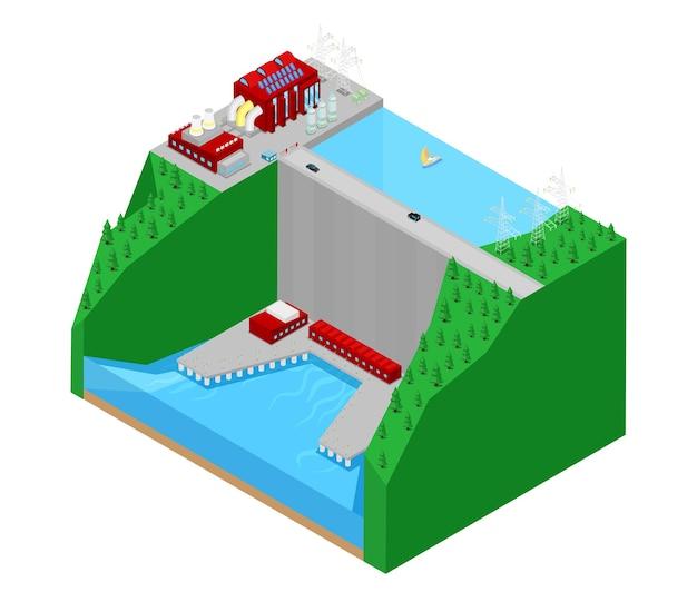 Estação de energia elétrica de fábrica de usina hidrelétrica isométrica. ilustração Vetor Premium