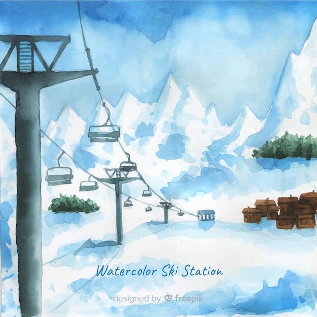 Estação de esqui aquarela Vetor grátis