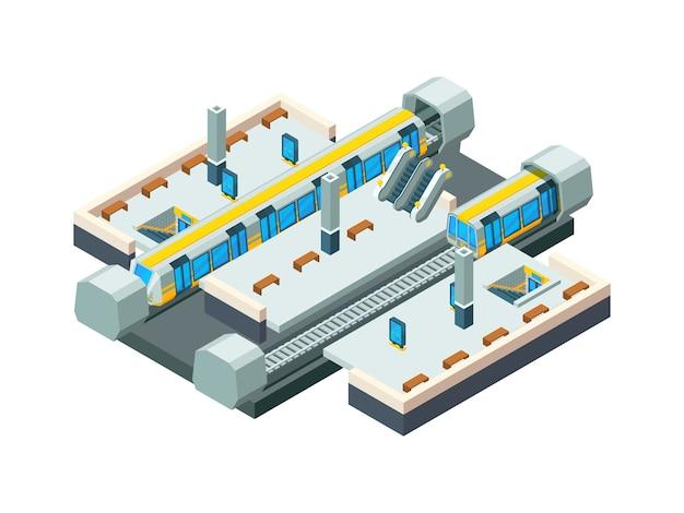 Estação de metrô da cidade. túnel do metrô urbano com fundo de estação de baixo poli isométrico de vetor de trem ferroviário. cidade de trem e metrô, ilustração de estação de metrô Vetor Premium