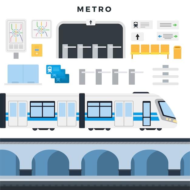 Estação de metrô, trem, mapa, navegação, assentos de passageiros, catraca, bilhetes. conjunto de elementos do metrô Vetor Premium