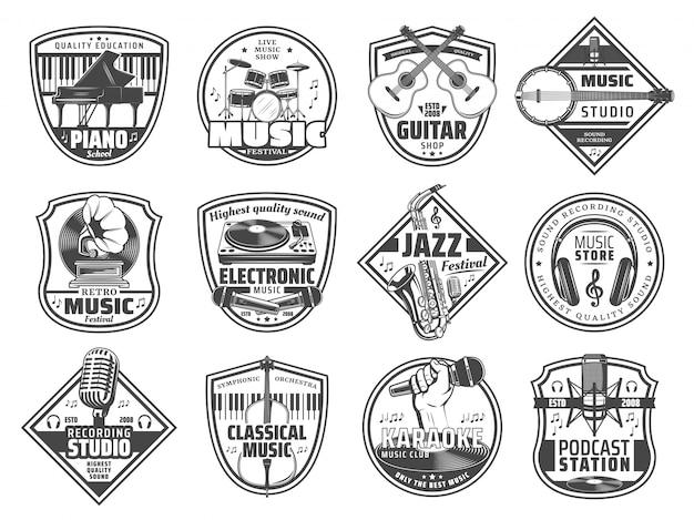 Estação de música, ícones de estúdio de gravação de som Vetor Premium