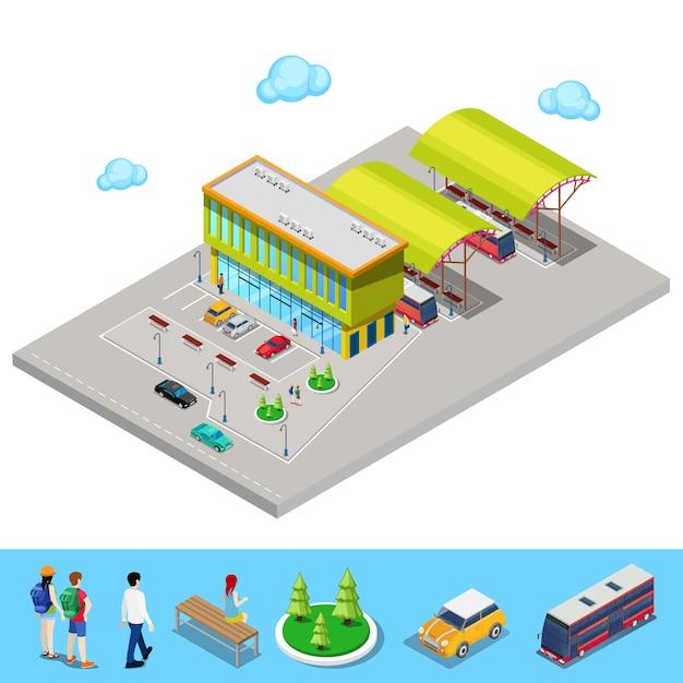 Estação de ônibus da cidade isométrica com ônibus, área de estacionamento e pessoas Vetor Premium