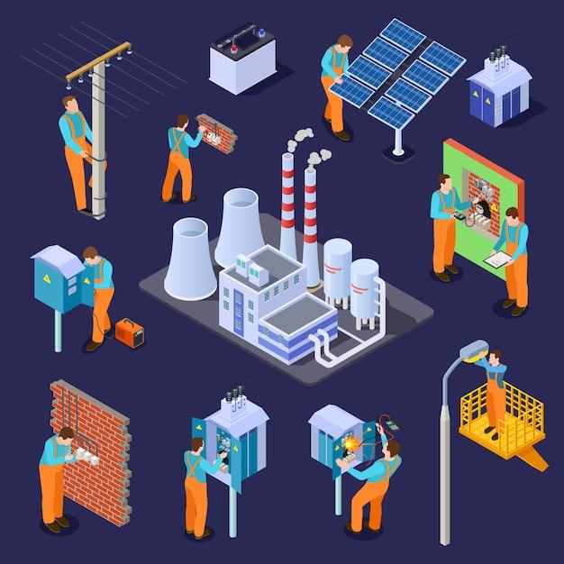 Estação elétrica e eletricistas, conjunto isométrico de trabalhadores Vetor Premium