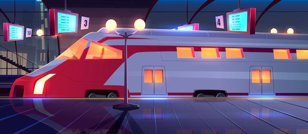 Estação ferroviária com trem de alta velocidade à noite Vetor grátis