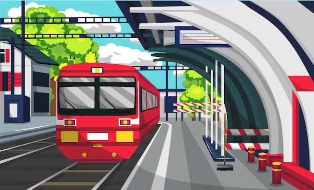 Estação ferroviária commuter line Vetor Premium