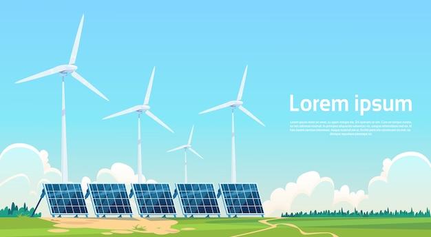 Estação renovável do painel da energia solar da turbina eólica Vetor Premium