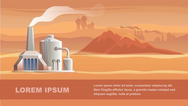 Estação técnica surface red planet. Vetor Premium