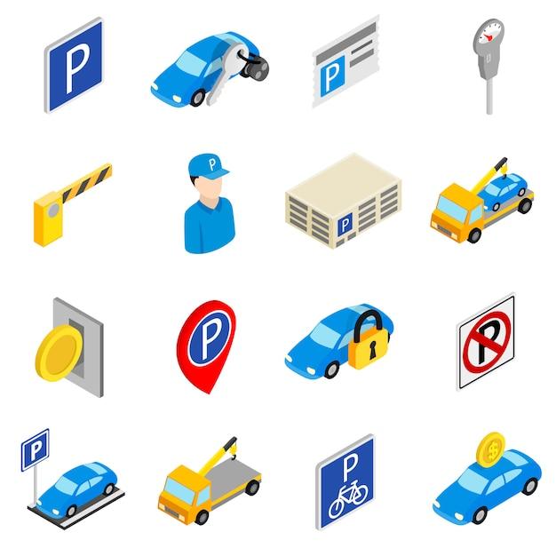 Estacionamento conjunto de ícones isolados no fundo branco Vetor Premium