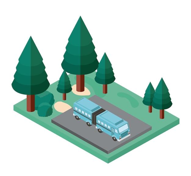 Estacionamento de ônibus e ícone isométrica de cena de árvores Vetor Premium
