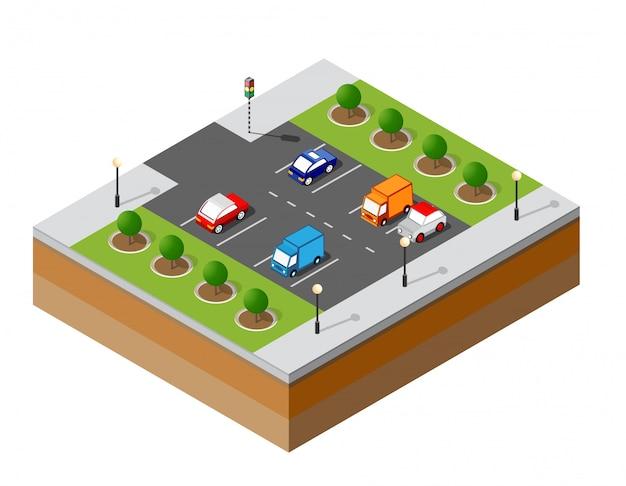 Estacionamento isométrico urbano Vetor Premium