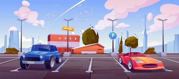 Estacionamento na rua da cidade, automóveis de luxo Vetor grátis
