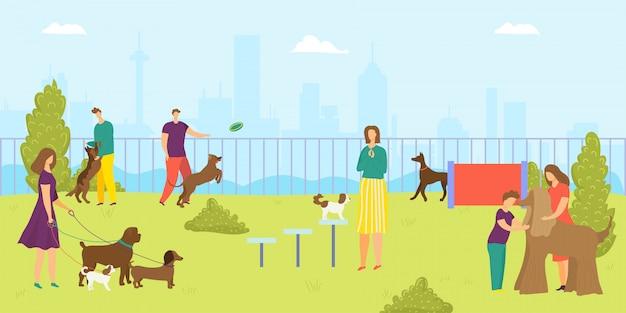 Estacione para o animal de estimação do cão, ilustração. homem mulher personagem e desenho animado animal feliz, jovens felizes estilo de vida ao ar livre. atividade do filhote na natureza, passeio de verão divertido e lazer juntos. Vetor Premium