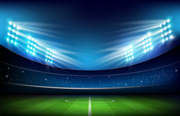 Estádio de futebol e iluminação Vetor Premium