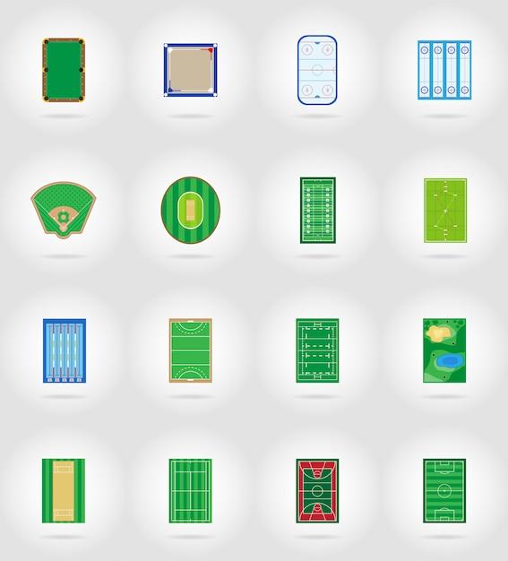 Estádio de recreio tribunal e campo para ilustração em vetor ícones plana jogos esportivos Vetor Premium