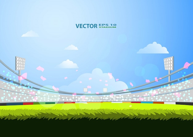 Estádio desportivo com luzes Vetor Premium