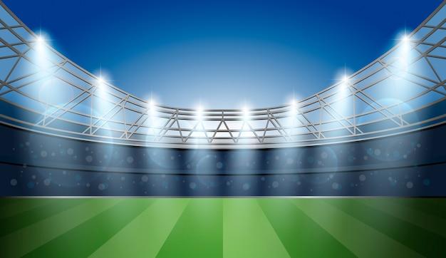 Estádio do futebol com luz spot. Arena de futebol. Vetor Premium