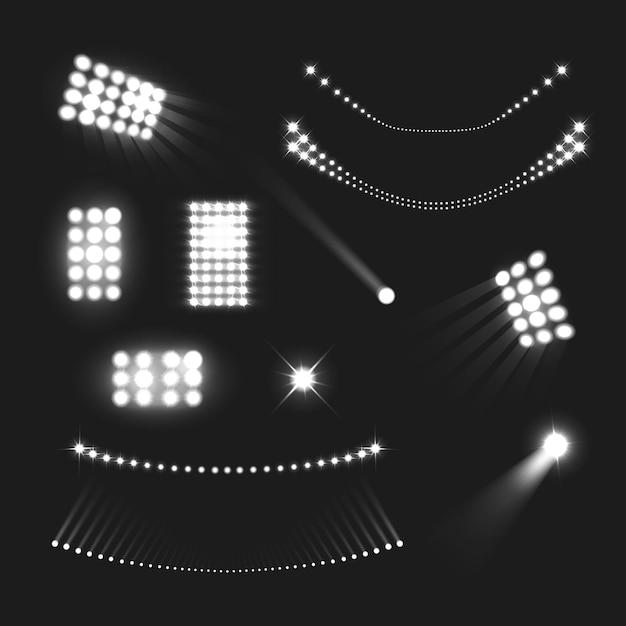 Estádio luzes realista preto branco conjunto isolado Vetor grátis