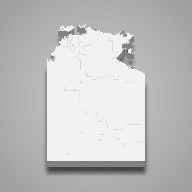 Estado do mapa 3d da austrália Vetor Premium