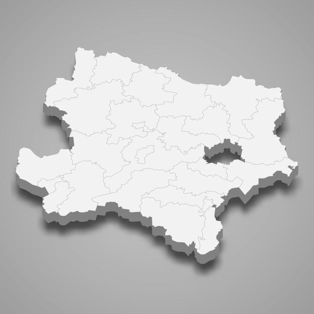 Estado do mapa 3d da áustria Vetor Premium