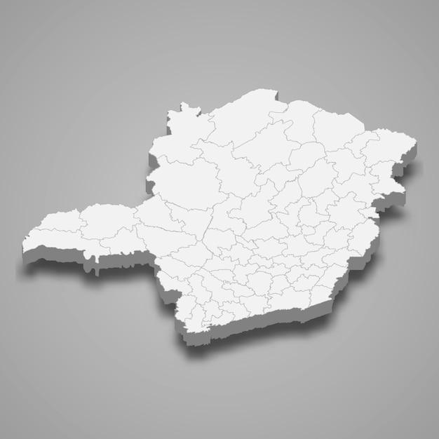 Estado do mapa 3d do brasil Vetor Premium