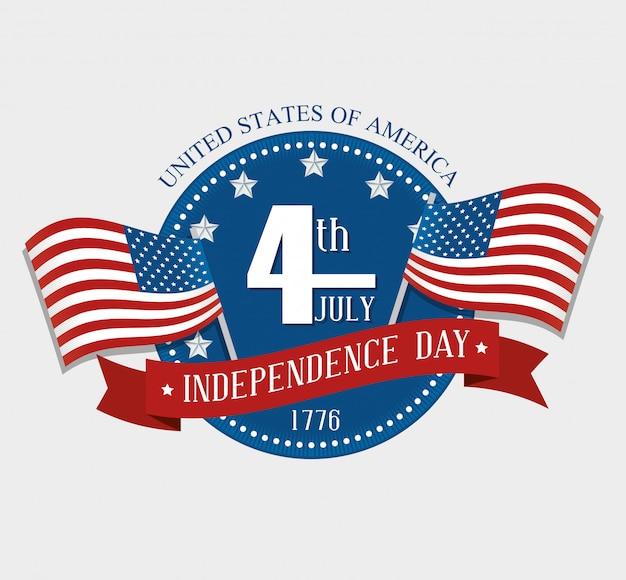 Estados unidos feliz dia da independência, celebração de 4 de julho Vetor grátis