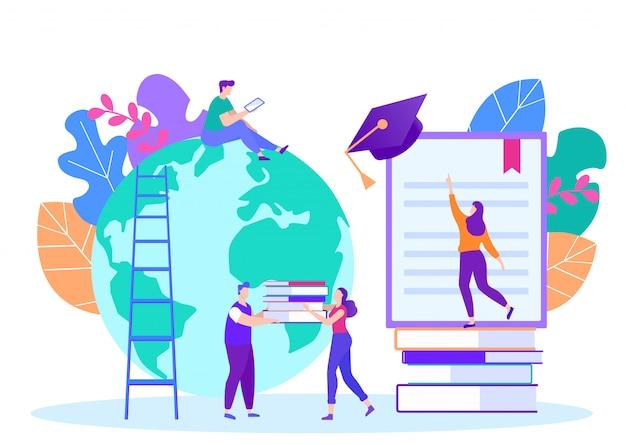 Estágios à distância. lição online. e-learning. treinamento on-line. Vetor Premium