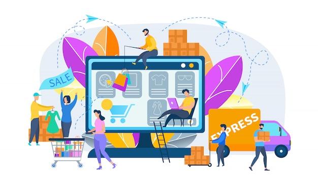 Estágios de compras online Vetor Premium