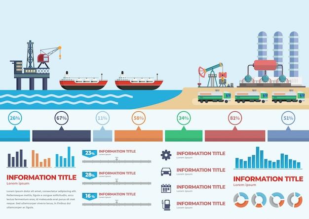 Estágios de infografia da produção de petróleo no oceano Vetor Premium