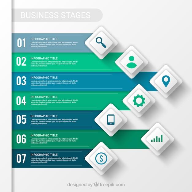 Estágios de negócios Vetor Premium