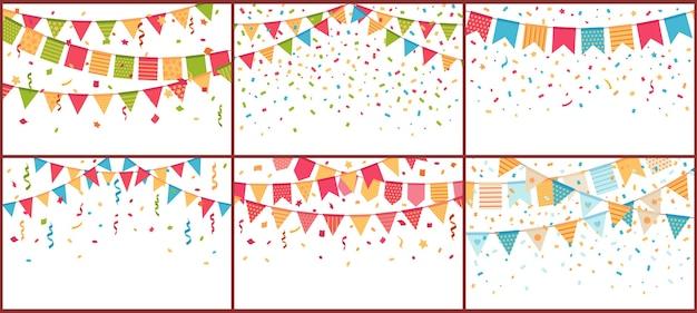 Estamenha de festa de aniversário e confetes. flâmulas de papel colorido, explosão de confettis e bandeiras de buntings Vetor grátis