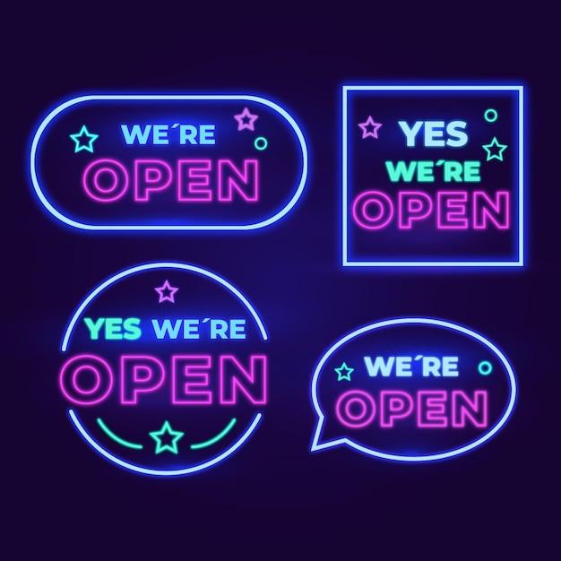 Estamos abertos - coleção de sinais de néon Vetor grátis