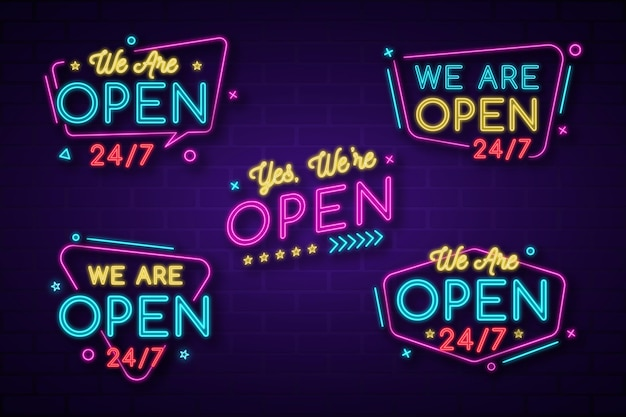 Estamos abertos - coleção de sinais de néon Vetor Premium