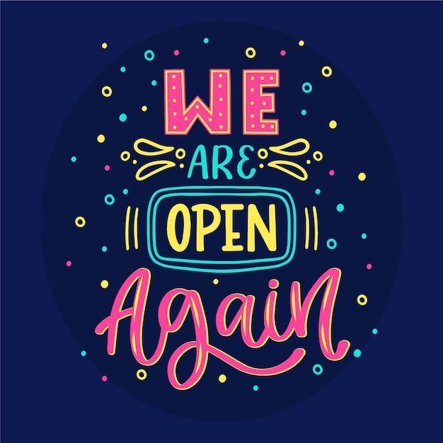 Estamos abertos novamente letras Vetor grátis